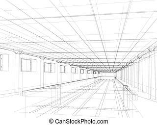 interior constructivo, bosquejo, público, 3d