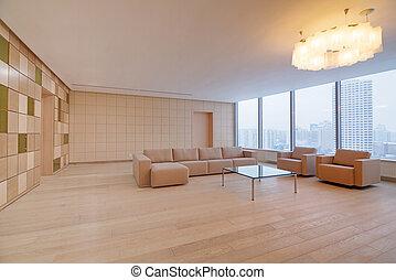 interior construindo, modernos, escritório