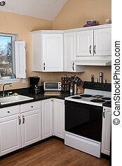 interior, contemporâneo, limpo, cozinha