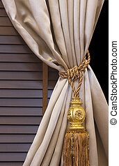 interior, cortina, borla, decoración
