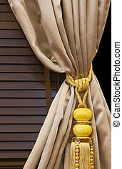 interior, cortina, tassel, decoração
