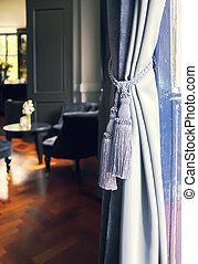 interior, cortinas, clásico