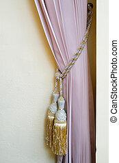 interior, cortinas, style., beige, clásico