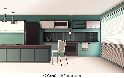 interior, cozinha, composição, contemporâneo