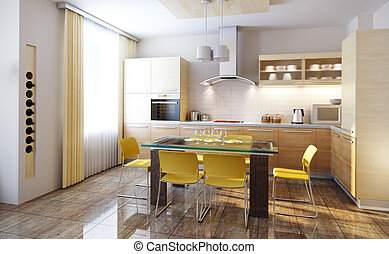 interior, cozinha, modernos, render, 3d