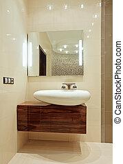 interior, cuarto de baño, wash-stand, detalle, espejo