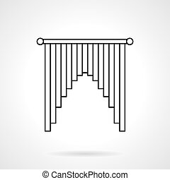 Interior curtains flat line vector icon