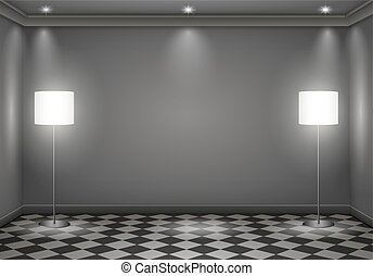 The interior of a dark room with lamps. Vector graphics