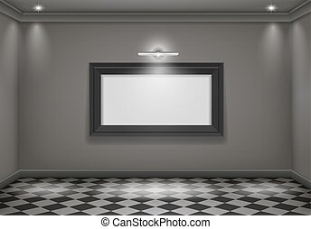 The interior of a dark room with the lower lights and the big picture. Vector graphics
