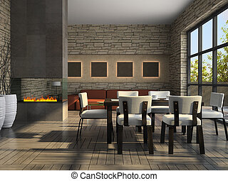 interior, de, a, living-room, com, lareira