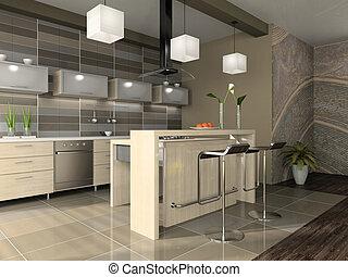 interior, de, a, modernos, apartamento