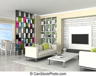 interior, de, a, quarto moderno