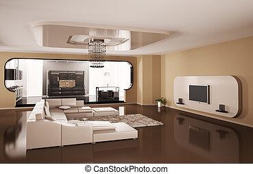 interior, de, apartamento, 3d, render