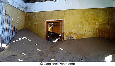 interior, de, arruinado, casa, en, pueblo fantasma, kolmanskop, namibia