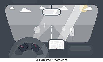 interior de automóvil, dentro