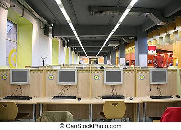interior, de, café internet