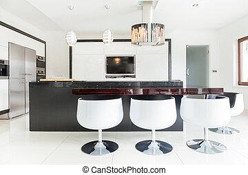 interior, de, cozinha, em, um, grande, mansão