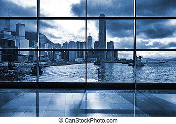 interior, de, edificio moderno, en, hong kong