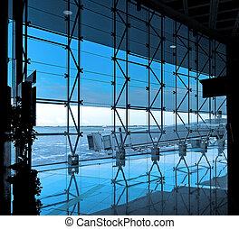 interior, de, el, aeropuerto