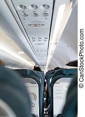 interior, de, el, avión