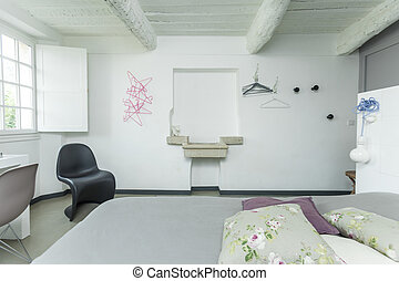 interior, de, el, blanco, rústico, bedroom.