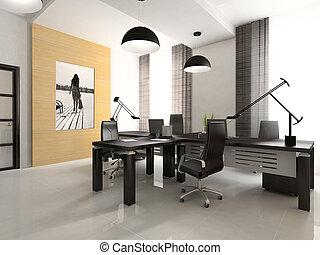 interior, de, el, gabinete, en, oficina, 3d, interpretación