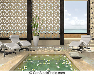 interior, de, el, moderno, balneario