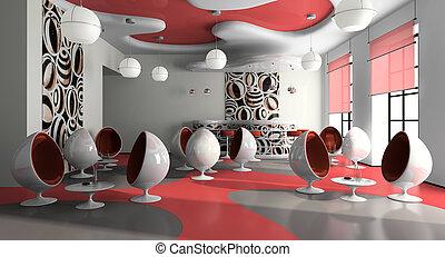 interior, de, el, moderno, café