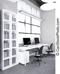interior, de, el, moderno, oficina, interpretación