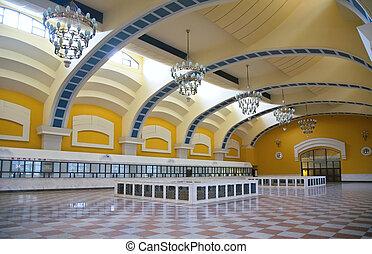 interior, de, estación, vestíbulo