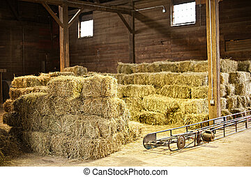 interior, de, granero, con, fardos de heno