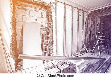 interior, de, habitación, durante, de, instalar, de, cartón...