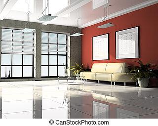 interior de la oficina, 3d, interpretación