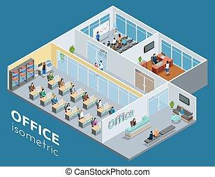 interior de la oficina, vista, isométrico, cartel