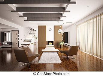 interior, de, moderno, apartamento, 3d, render