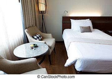 interior, de, moderno, cómodo, habitación de hotel