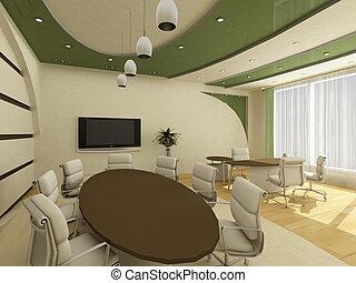 interior, de, moderno, creativo, oficina, con, lugar de trabajo