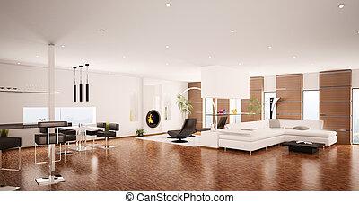 interior, de, modernos, apartamento, 3d, render