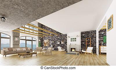 interior, de, modernos, apartamento sótão, 3d, render