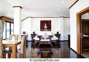 interior, de, modernos, confortável, quarto hotel