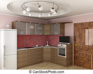 interior, de, modernos, kitchen., 3d, image.