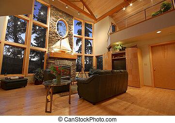 interior, de, um, upscale, casa