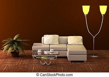 interior, de, um, vivendo, room., 3d, image.