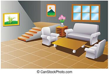 interior, de, un, casa, sala