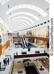 interior, de, un, centro comercial
