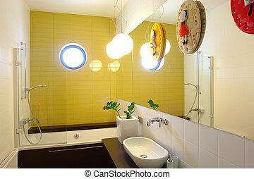 Cuarto de baño, colegiales. Cuarto de baño, fregaderos,... foto de ...