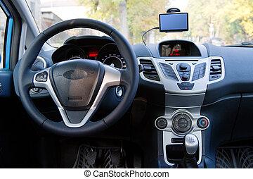 interior, de, un, moderno, coche
