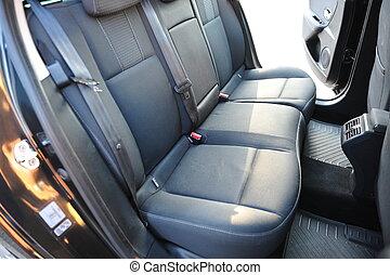 interior, de, un, moderno, coche., negro, tablero de instrumentos