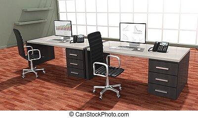 interior, de, un, moderno, oficina, con, doble, espacio trabajo