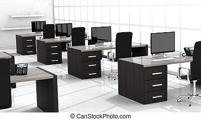 interior, de, un, moderno, oficina, con, múltiplo, trabajando, espacios